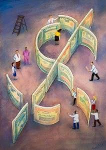 Business people building dollar symbol